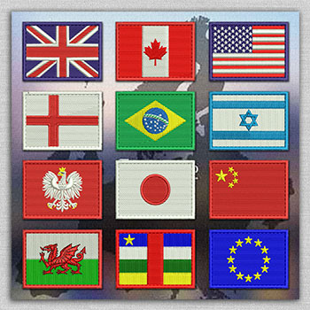 The category of embroidery designs with flags of all countries
