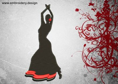 This Flamenco pose design was digitized and embroidered by www.embroidery.design.