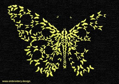 This Flock of monochrome butterfly design was digitized and embroidered by www.embroidery.design.