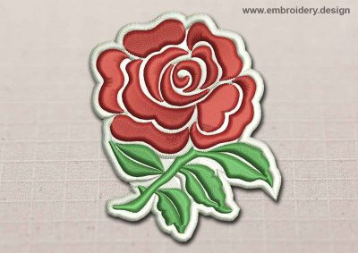 This Flora Patch English Rose design was digitized and embroidered by www.embroidery.design.
