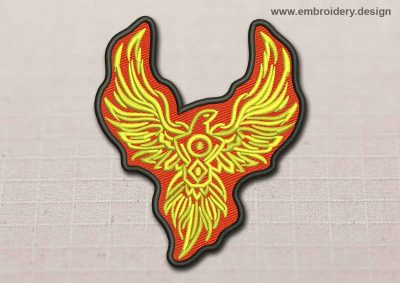This Flora Patch Gold Phoenix In The Flame design was digitized and embroidered by www.embroidery.design.