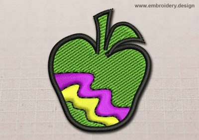 This Flora Patch Green Apple With Colored Zigzag design was digitized and embroidered by www.embroidery.design.