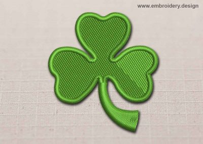 This Flora Patch Green Irish Shamrock design was digitized and embroidered by www.embroidery.design.