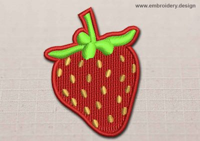 This Flora Patch Strawberry design was digitized and embroidered by www.embroidery.design.
