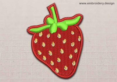 This Flora Patch Strawberry With White On Pips design was digitized and embroidered by www.embroidery.design.