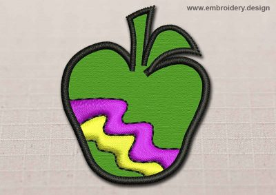 This Flora Patch Transparent Green Apple With Colored Zigzag design was digitized and embroidered by www.embroidery.design.