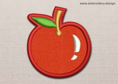 This Flora Patch Transparent Red Apple design was digitized and embroidered by www.embroidery.design.