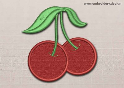 This Flora Patch Transparent Red Cherry design was digitized and embroidered by www.embroidery.design.