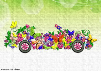 The embroidery design Floral Cabriolet was digitized in EmbroSoft Studio