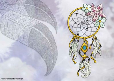 This Floral dreamcatcher design was digitized and embroidered by www.embroidery.design.