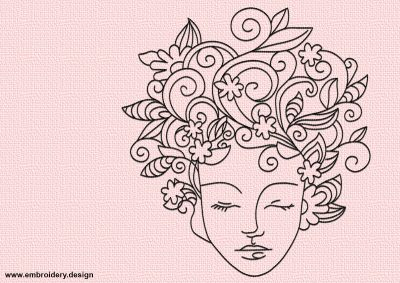 The embroidery design Floral girl looks unusual and stylish. It will decorate any clothes.