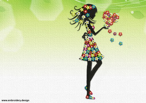 The embroidery design Floral girl with a heart can be an used as an ornament for decorative pillows