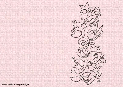 The embroidery design Floral ornament can be embroidered and used in decoration of interior textile.