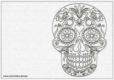 The embroidery design Floral skull will nicely decorate any apparel.
