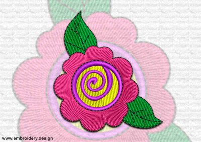 This Floret with leaves design was digitized and embroidered by www.embroidery.design.