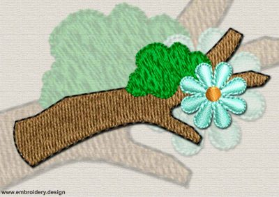 This Flowering branch design was digitized and embroidered by www.embroidery.design.