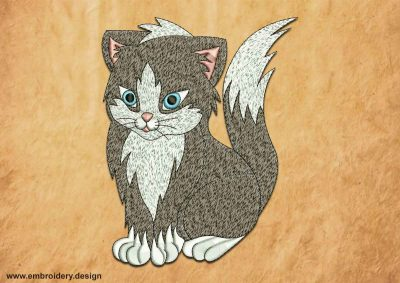 This Fluffy grey kitten design was digitized and embroidered by www.embroidery.design.