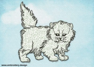 This Fluffy kitten design was digitized and embroidered by www.embroidery.design.