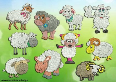 This Fluffy sheep's pack design was digitized and embroidered by www.embroidery.design.