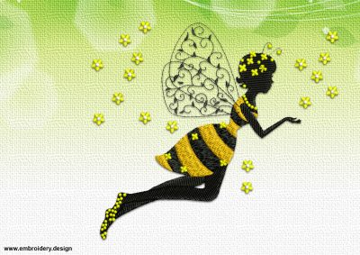The unusual two-color embroidery design Flying bee girl