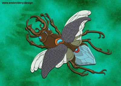 This Flying beetle design was digitized and embroidered by www.embroidery.design.