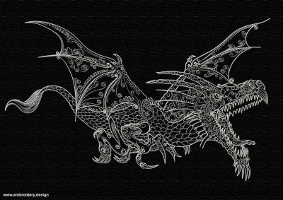 This Flying dragon design was digitized and embroidered by www.embroidery.design.
