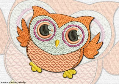 This Flying owlet design was digitized and embroidered by www.embroidery.design.