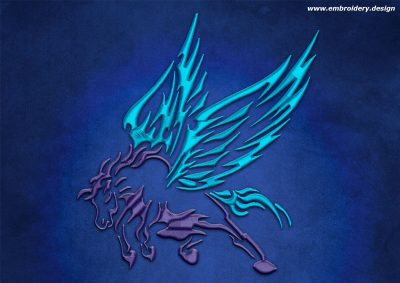 This Flying Pegasus design was digitized and embroidered by www.embroidery.design.