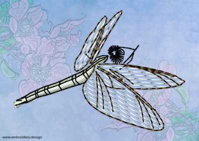 This Flying up dragonfly design was digitized and embroidered by www.embroidery.design.