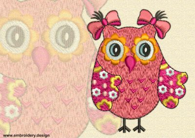 This Focused owl design was digitized and embroidered by www.embroidery.design.
