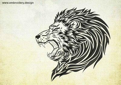 This Formidable Lion design was digitized and embroidered by www.embroidery.design.