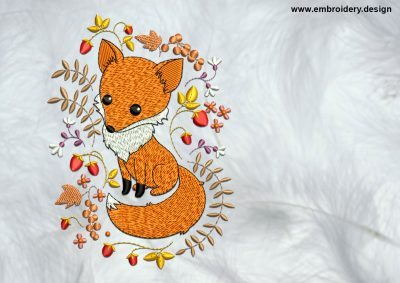 The high quality embroidery design Fox with plants