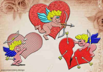This Frolicsome Cupids' pack design was digitized and embroidered by www.embroidery.design.