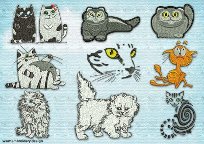 This Funny cats' pack design was digitized and embroidered by www.embroidery.design.