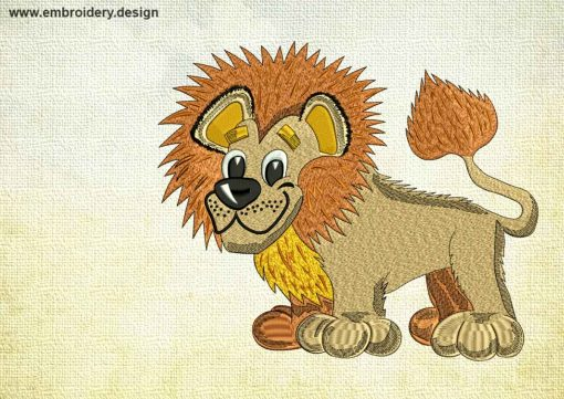 This Funny Lionet design was digitized and embroidered by www.embroidery.design.