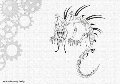 The embroidery design Funny steampunk dragon