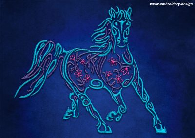 This Galloping horse with flowers design was digitized and embroidered by www.embroidery.design.