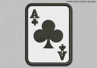 This Game Patch The Ace Of Clubs design was digitized and embroidered by www.embroidery.design.