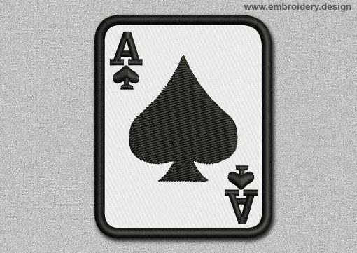This Game Patch The Ace Of Spades design was digitized and embroidered by www.embroidery.design.