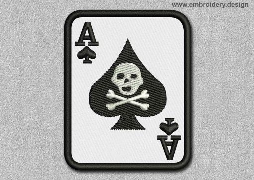 This Game Patch The Ace Of Spades With Skull design was digitized and embroidered by www.embroidery.design.