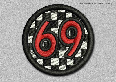 This Game Patch Ball With Number 69 design was digitized and embroidered by www.embroidery.design.