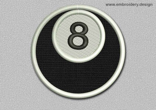 This Game Patch Ball With Number 8 design was digitized and embroidered by www.embroidery.design.
