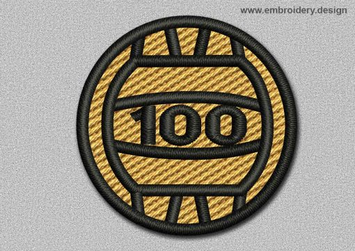 This Game Patch Orange Ball With Number 100 design was digitized and embroidered by www.embroidery.design.