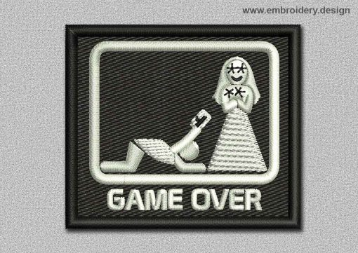This Game Patch Game Over On Black Background design was digitized and embroidered by www.embroidery.design.
