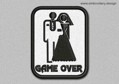 This Game Patch Game Over On White Background With Black Border design was digitized and embroidered by www.embroidery.design.