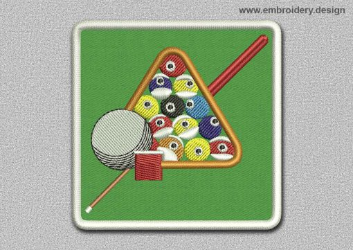 This Game Patch Pool On Green Background design was digitized and embroidered by www.embroidery.design.