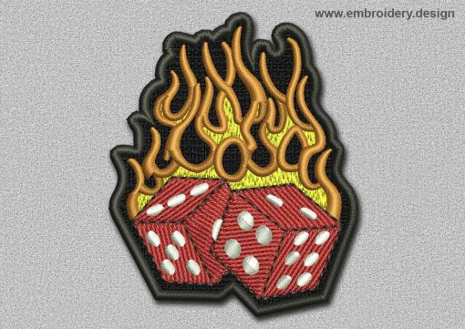 This Game Patch Red Dices In The Flame design was digitized and embroidered by www.embroidery.design.