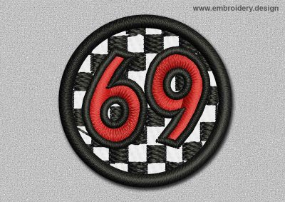 This Game Patch Transparent Ball With Number 69 design was digitized and embroidered by www.embroidery.design.