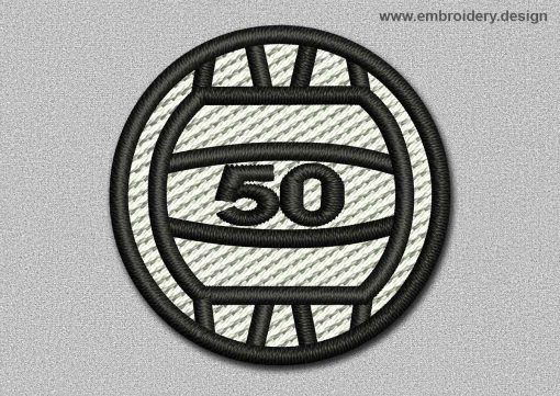 This Game Patch White Ball With Number 50 design was digitized and embroidered by www.embroidery.design.