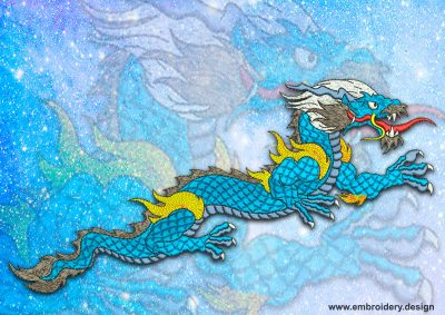 This Gelid dragon design was digitized and embroidered by www.embroidery.design.